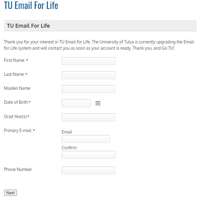塔尔萨大学校友邮箱申请